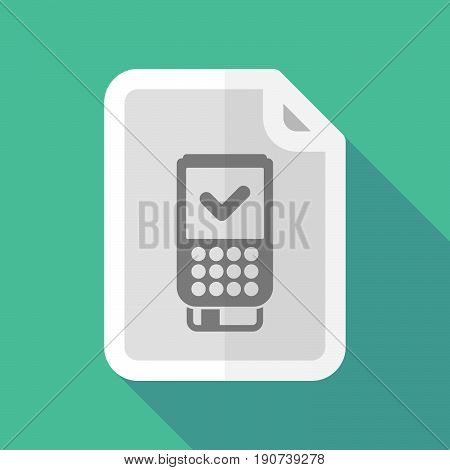 Long Shadow Document With  A Dataphone Icon