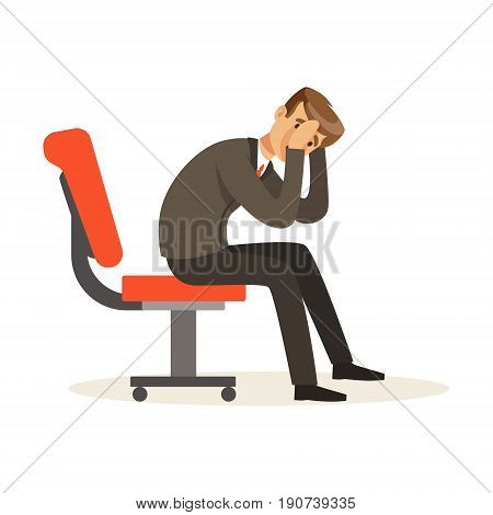 Unfortunate businessman dissatisfied with his work sitting on the chair, unsuccessful character vector Illustration isolated on a white background