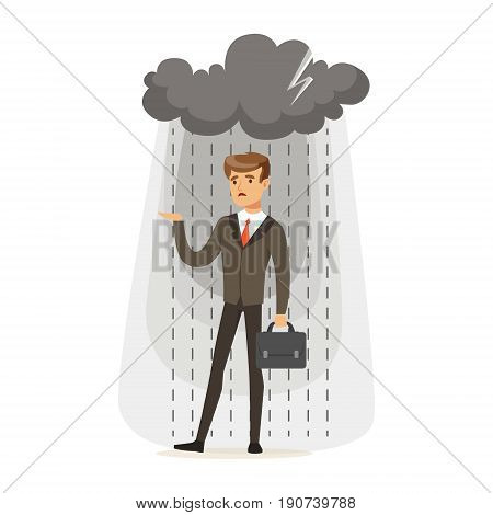 Depressed businessman with briefcase standing in the rain under a cloud, unsuccessful character vector Illustration isolated on a white background