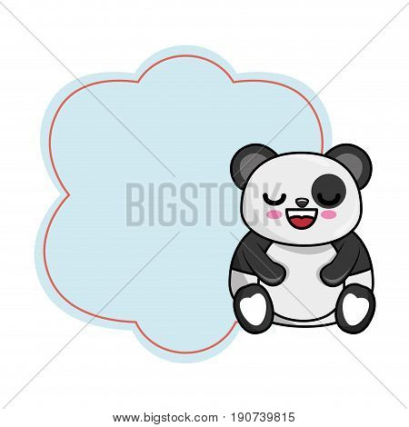 frame with kawaii panda bear icon over white background colorful design vector illustration