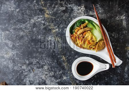 Overhead Shot Of Chinese Cabbage, Bok Choy, And Noodle With Cape