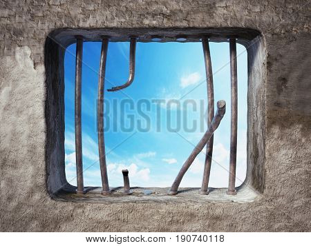 Prison cell with broken prison bars on the window. 3D illustration.