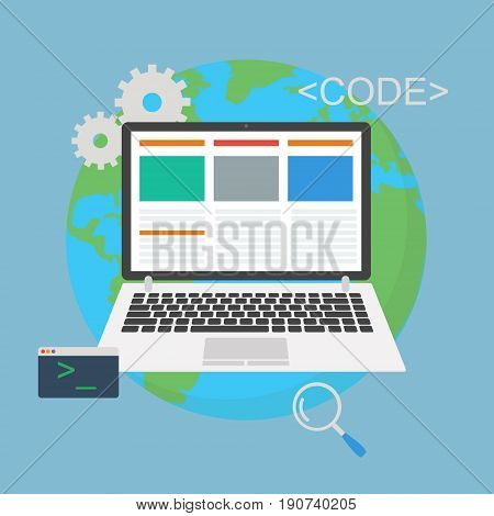 Web development. Laptop programming concept with console earth flat