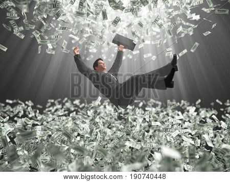 businessman falls through a money clouds, 3d illustration