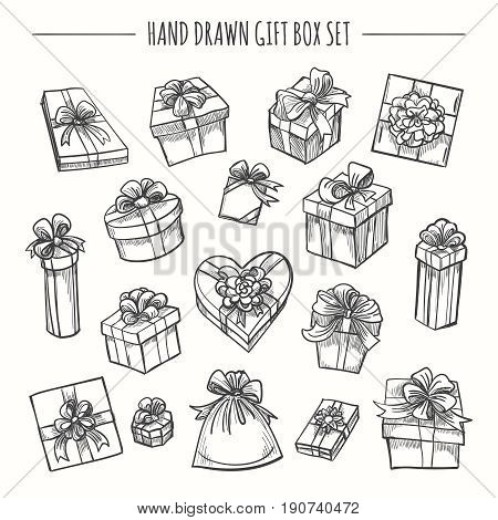 Gift box set in hand drawn style. Sketch outline present boxes isolated on white background