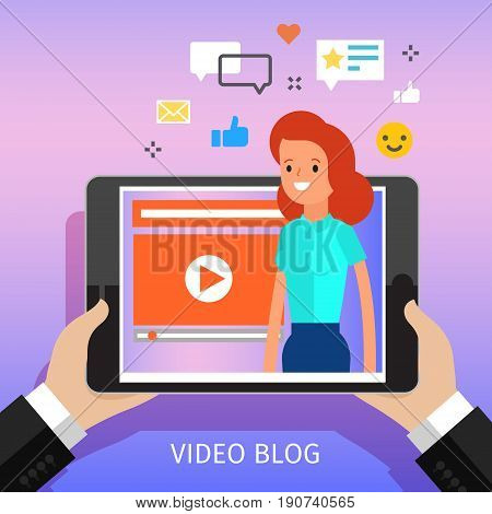 Concept of video blogging. The girl is in her video blog on the computer screen. Flat design, vector illustration.