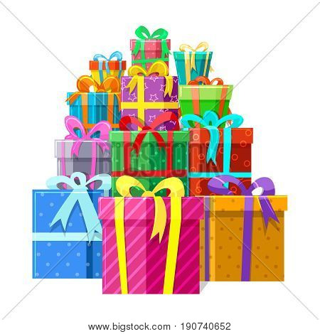 Big surprise vector illustration. Gifts or presents boxes pile isolated on white background for celebration design