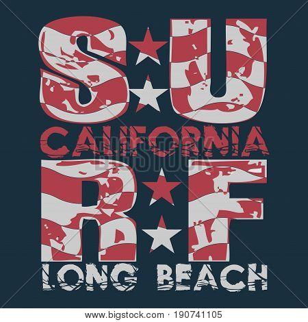 Surfing California, T-shirt  surfing long beach, water sports, T-shirt inscription typography, graphic design, emblem