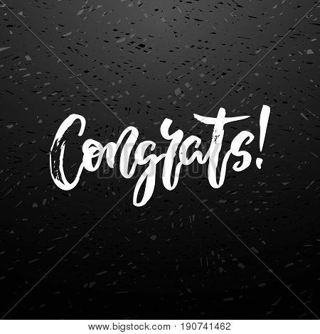 Congrats hand written lettering. Modern brush chalk calligraphy on blackboard. For congratulations card, greeting card, invitation, poster and print. Vector illustration stock vector.