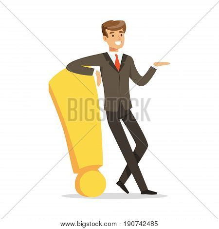 Smiling businessman standing and leaning against a red exclamation point vector Illustration isolated on a white background