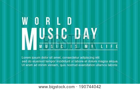 World music day vector flat collection background style