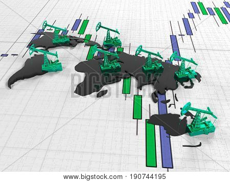 3d render Gold Pumpjack oil on the background of the oil in the circuit continents on quoted stock exchange