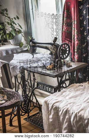 Razdorskaya the Rostov Region; Russia - June 04; 2017:Singer sewing machine in the Cossack house