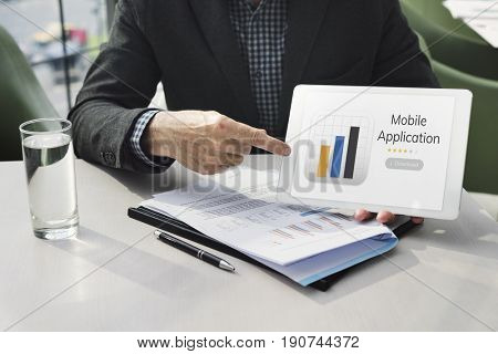 Businessman with mobile application graph download illustration