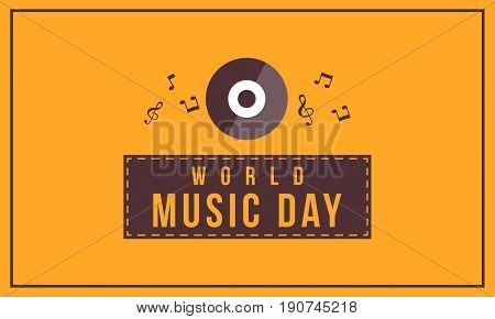 Background style world music day collection vector flat