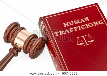 Human trafficking concept with gavel and book 3D rendering