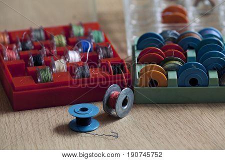 the bobbin for sewing machine macro shot