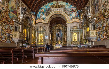VALEGA,PORTUGAL - MAY 12,2017 - View at the interior painted decoration of church in Valega. The Parish Church of Valega also referred to as the Church of Our Lady of Amparo
