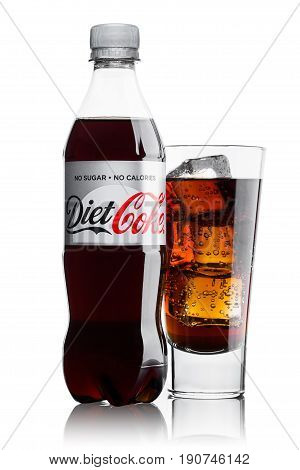 London, Uk - June 9, 2017: Bottle And Glass Of Diet Coke Soft Drink On White.the Coca-cola Company,