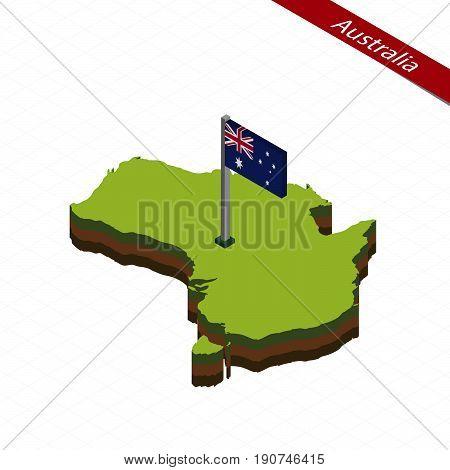 Australia Isometric Map And Flag. Vector Illustration.