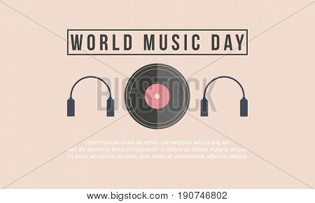 Vector flat world music day background collection