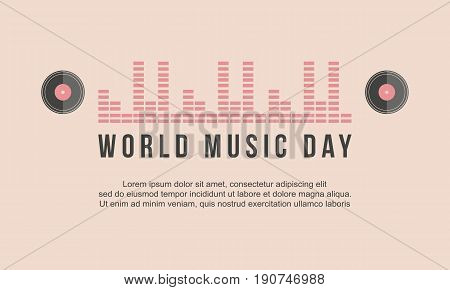 World music day celebration banner vector art