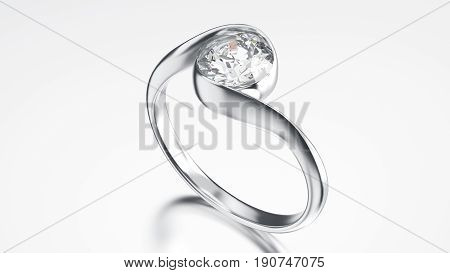 3D illustration silver ring bypass with diamond on a grey background