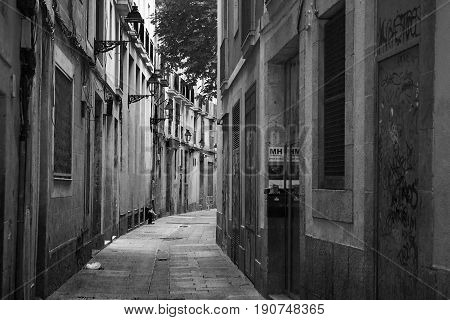 The streets of old town Barcelona. Black and white