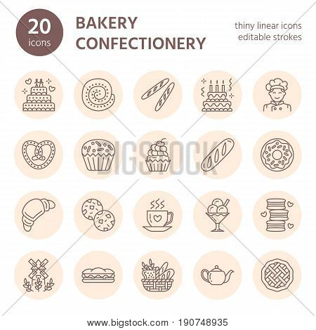 Bakery, confectionery line icons. Sweet shop products cake, croissant, muffin, pastry cupcake, pie Food thin linear signs.