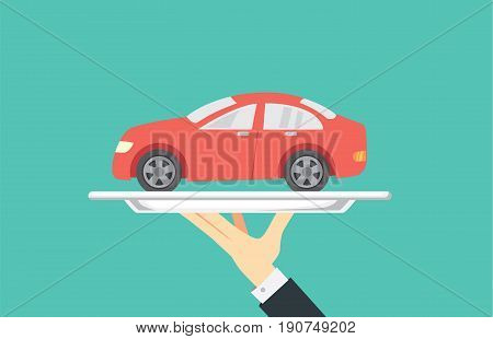 Hand holding small red car in silver tray. Illustration about buy and sale a car in catering concept.