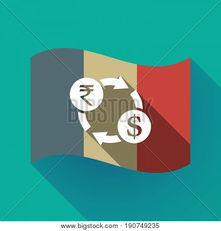 Long Shadow France Flag With  A Rupee And Dollar Exchange Sign