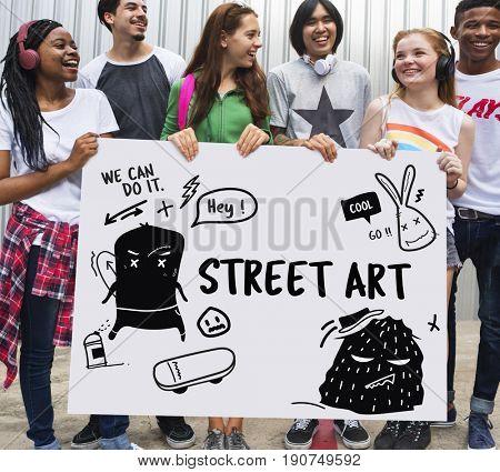 Illustration of graffiti street art culture