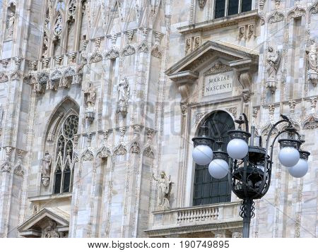 Detail of the facade of the Milan Cathedral - Lombardy - Italy