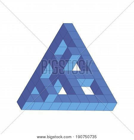 Vector Illustration Of The Penrose Triangle, Blue Cube