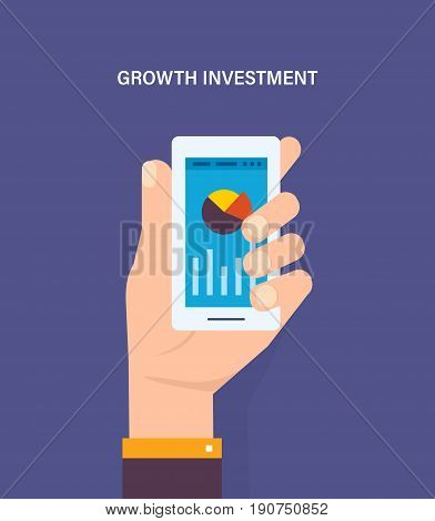Analytics data on mobile phone screen, statistics information research results on smartphone, cell phone display with growth graph and chart report his phone. Illustration isolated in cartoon style.