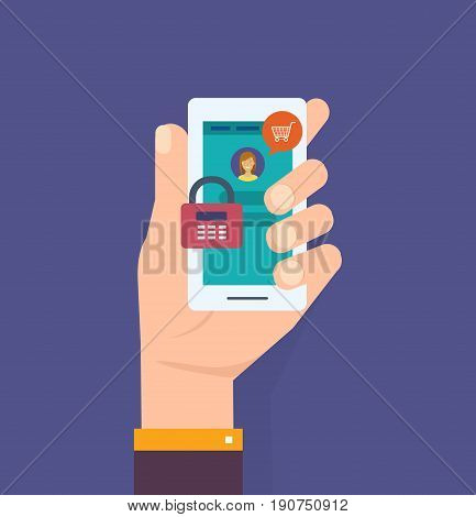 Hand with smartphone unlocked with password notification, mobile phone security, cellphone user authorization, login, protection technology. Vector illustration isolated in cartoon style.