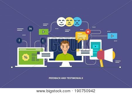 Feedback and testimonials. Feedback, reviews and rating, testimonials, like, communication. Voting system, communications and technology reviews. Vector illustration isolated in cartoon style.