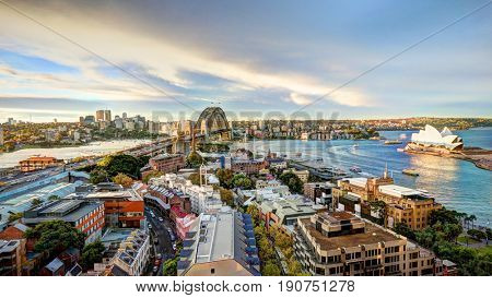 SYDNEY, AUSTRALIA, 26 APRIL 2017 - HDR Image - Sydney  harbour bridge and opera house. Iconic and world famous landmarks of Australia