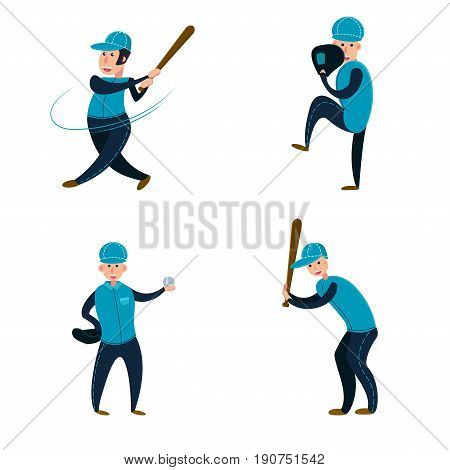 Baseball team: two batters pitcher and catcher. Flat vector illustration. Cartoon style