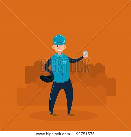 Catcher - baseball player with glove and ball. Flat vector illustration in cartoon style