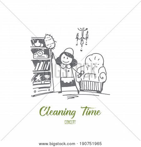 Vector hand drawn cleaning time concept sketch. Cleaning lady in special clothing tiding up room