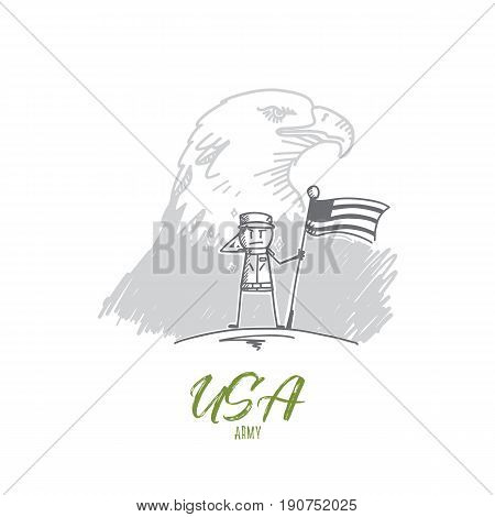 Vector hand drawn USA Army concept sketch. Soldier standing with flag and salutting, bird american symbol at background