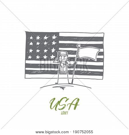 Vector hand drawn USA Army concept sketch. Soldier standing with flag and salutting, american flag at background