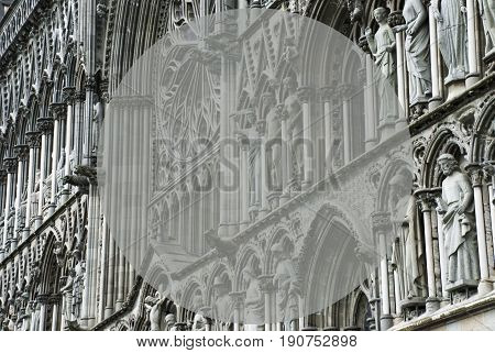 Church Of Trondheim In Norway. Macro Or Close Up Of Sculptures Or Statue. Religious Greeting Card. Copy Space For Advertisement Or Your Text Here