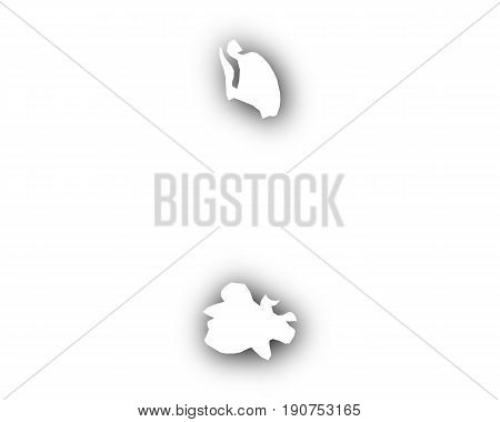 Map Of Antigua And Barbuda With Shadow