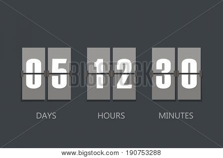 Flip Countdown Timer. Flat Style, Sign Vector