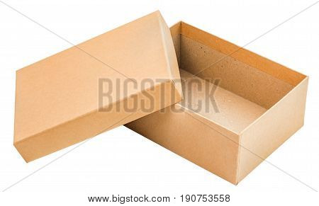 opened empty cardboard box with cap isolated on white background