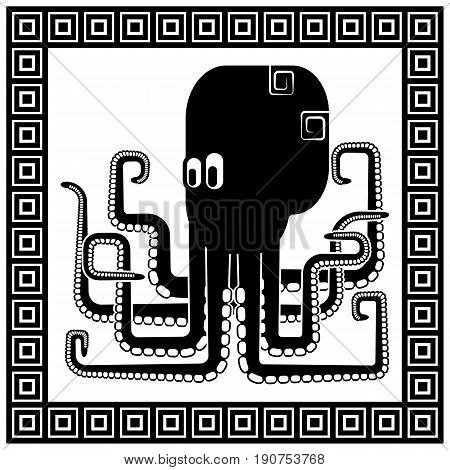 Stylized silhouette of an octopus surrounded by a frame in the Greek style