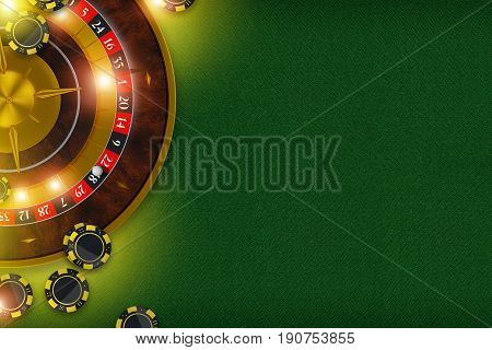 Elegant Casino Roulette Backdrop. Classic Green Textile Material Table Roulette Wheel and the Casino Chips. 3D Rendered Illustration.
