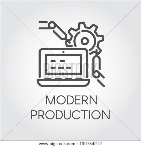 Simplicity icon in line design style symbolizing modern production at the plant and contemporary computer technology. Pictograph graphic, button or infographic element for different design projects